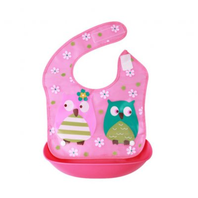 Children Double Layer Cartoon Cute Waterproof Baby Bib with Detachable Food Slot Rose owl