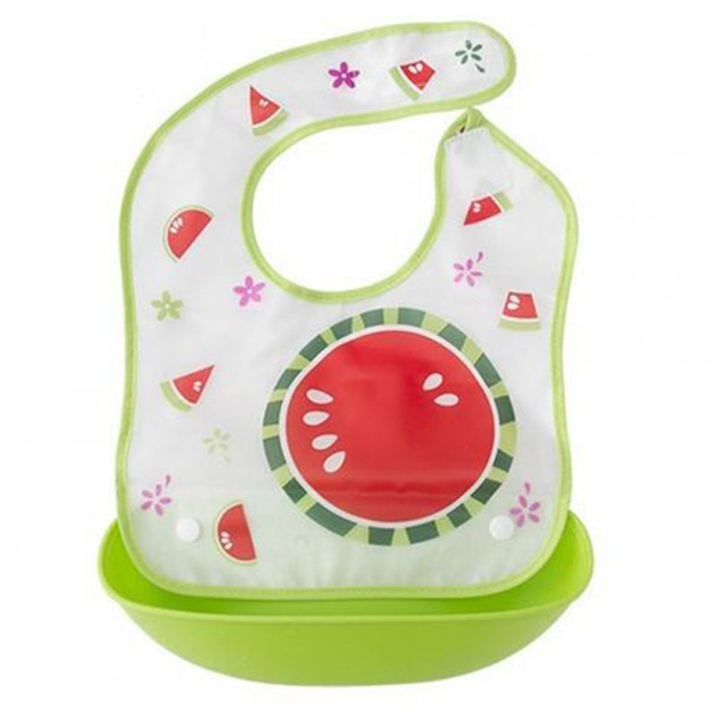 Children Double Layer Cartoon Cute Waterproof Baby Bib with Detachable Food Slot Green watermelon