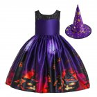 Children Dress Halloween Princess Lace Hole Dress Pumpkin Ghost Print Children's Dress with Hat WS007-Purple [with hat]_110cm
