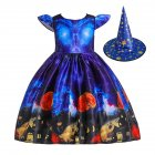 Children Dress Halloween Princess Dress Ghost Print Children's Dress with Hat WS003-blue [with hat]_130cm