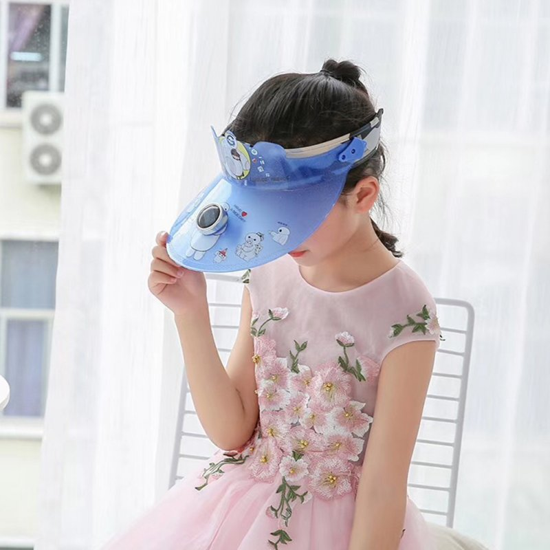 Children Girl Boy Hat Cartoon Pattern Sunhat Empty Top Solar Fan Cap blue