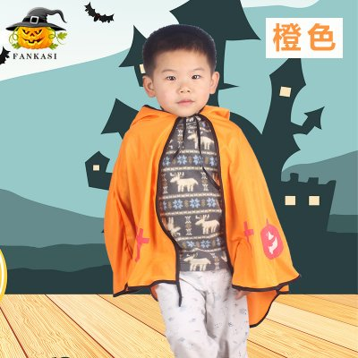 Children Halloween Costumes Ox Horn Devil Cloak Cute Cosplay Costume Orange