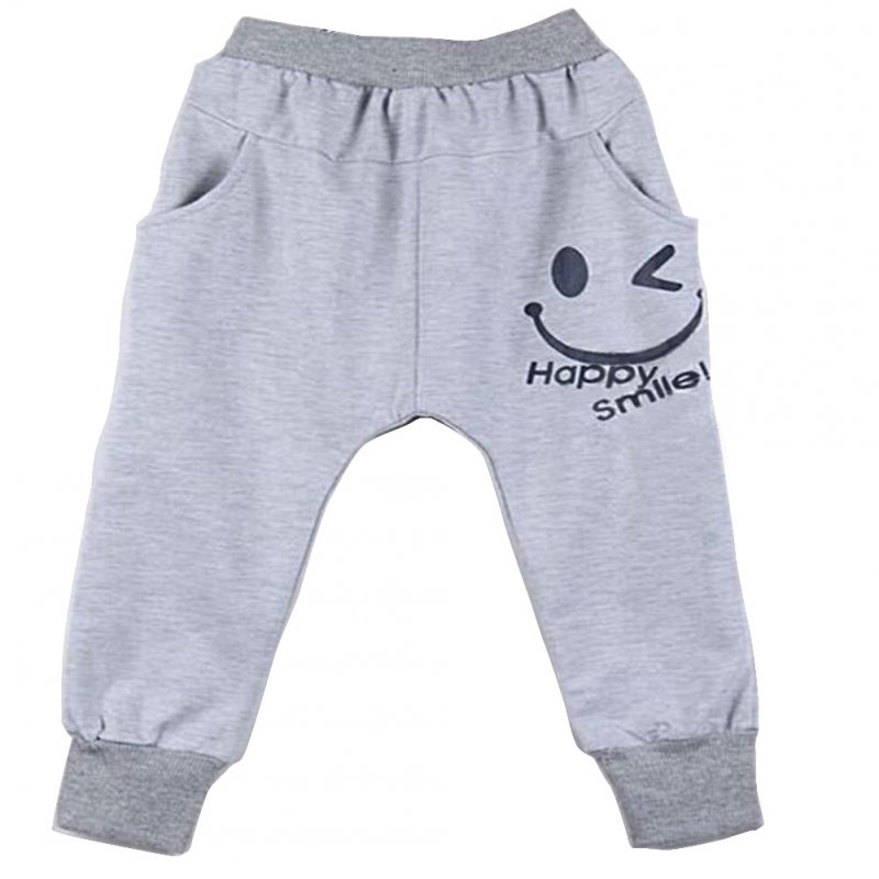 Children Harem Pants Casual Pants For 2-6 Years Old Cotton Smile Face Pattern Printed Pants gray_130cm