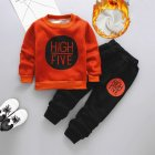 Children Hoodies Suit 1 Long sleeved Top   1 Long Pants for Boys and Girls Aged 1 3 Years caramel with HF 110cm