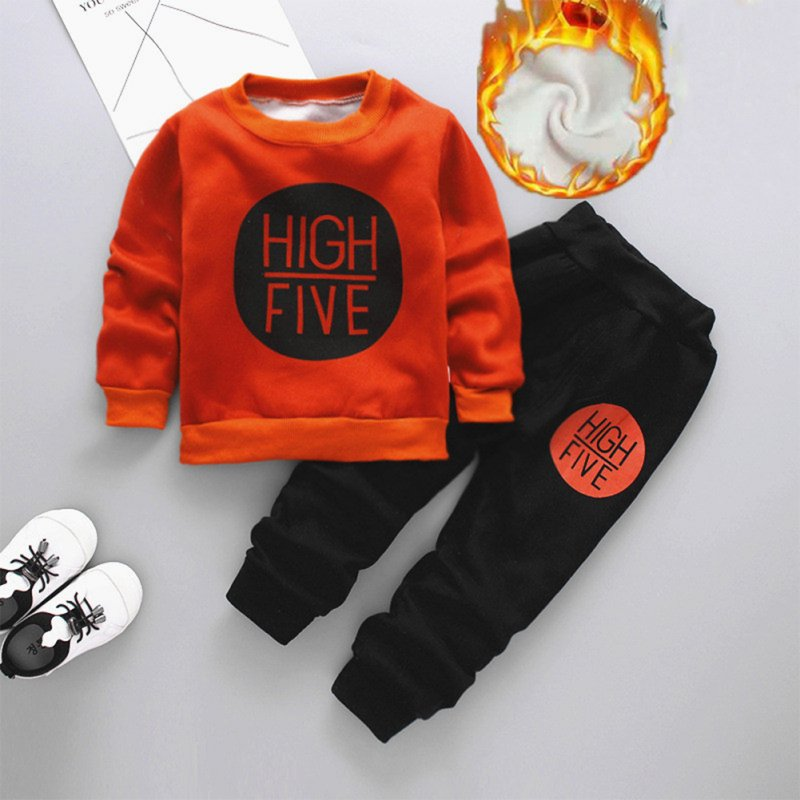 Children Hoodies Suit 1 Long-sleeved Top + 1 Long Pants for Boys and Girls Aged 1-3 Years caramel with HF_110cm