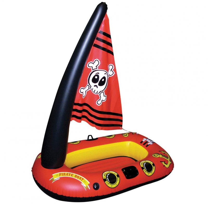 Children Inflatable Pirate Ship Water Toy Swimming Ring Inflatable Seat Thickening Version Red pirate ship 110*68*118CM (color box packaging)
