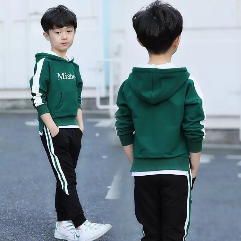 Children Kids Boy Spring Sports Long-sleeved Hooded Shirt + Pants Two-piece Suit Outfit M sweater green_130cm