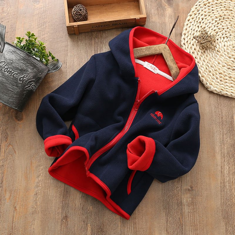Children Kids Lovely Fleece Long-sleeved Hooded Sweater Coat Tops black_130cm