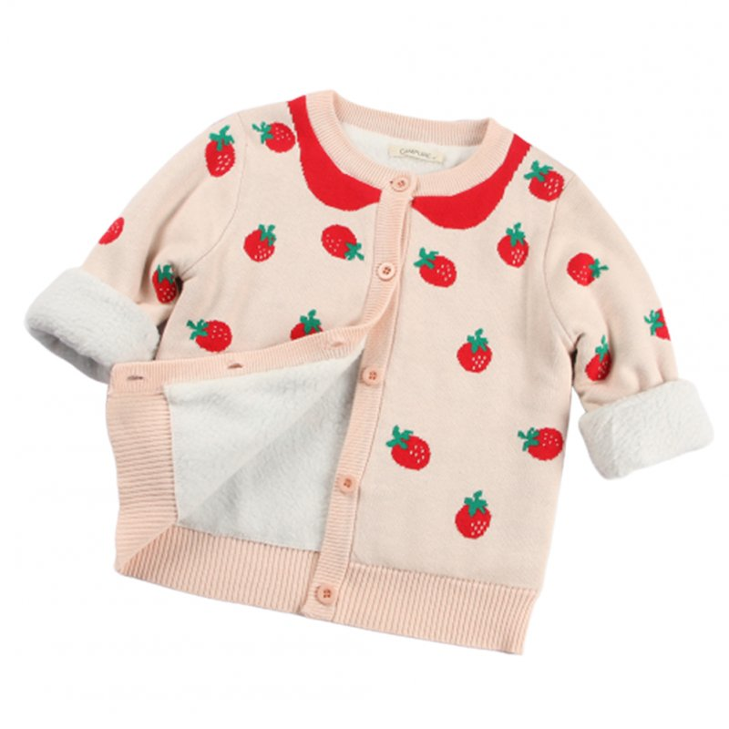 Children Kids Pink Strawberry Shaped Jacquard Pattern Long Sleeve Knitting Tops Coat Pink [plus velvet]_6Y (130cm)