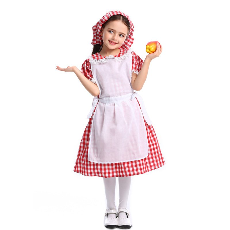 Children Lace Lattice Slim Dress Halloween Special Beer Festival Costume Maid Uniform Red plaid_XS
