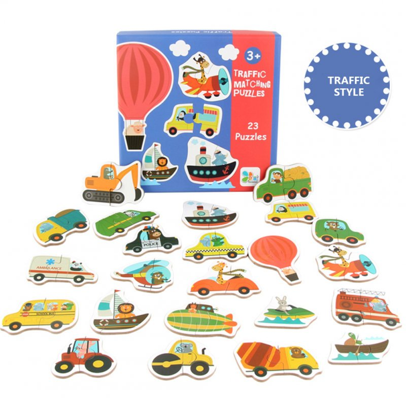 Children Large Matching Puzzle Games Early Learning Card My First Jigsaw Puzzle Toys for Children Kids Educational Toys Traffic puzzle