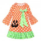 Children Long Sleeve Girls Halloween Dress Polka Dot Pumpkin Dress LYQ1364P green dot bow_90