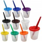 Children Plastic 10-color Pen-washing Cup + 10-color Bristle Graffiti Painting Brush Set HB-10 + 10