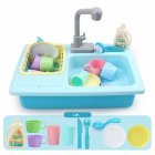 Children Simulation Faucet Kitchenware Water Dishwasher Tableware Pretend Game Tool Educational Toys blue