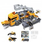 Children Simulation Fire Engineering Vehicle Parking Lot Educational  Pull-back Car Set for Kids yellow