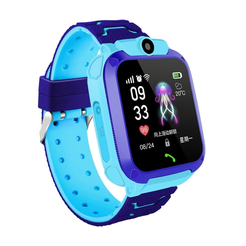 Children Smart Watch Phone Waterproof LBS Smartwatch Kids Positioning Call 2G SIM Card Remote Locator Watch blue