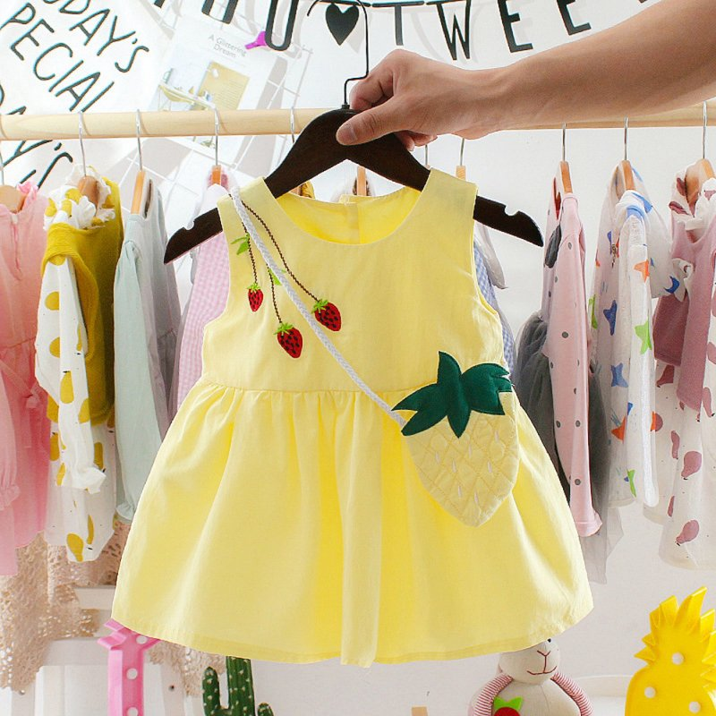 Children Toddler Kids Printed Strawberry Sleeveless Princess Dress+Bag Outfit yellow_70cm