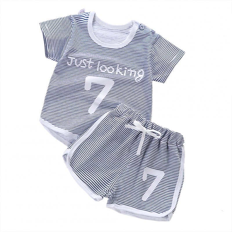 Children Unisex Short-sleeved Boys Girls Striped Cartoon T-shirt + Shorts Suit gray_100