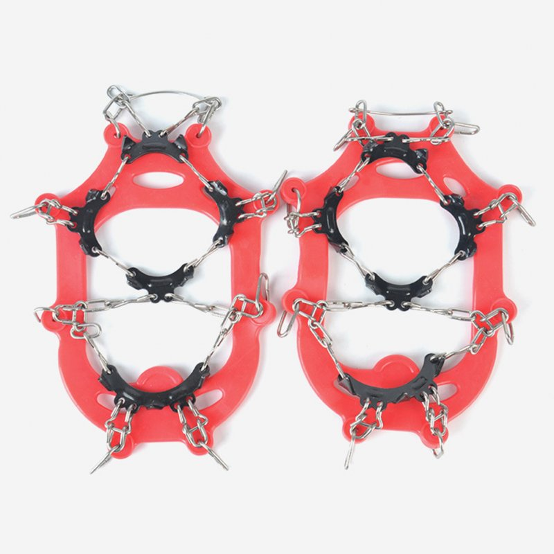 Children Winter Warm Outdoor Non-slip Ultra Stable 11 Tooth Crampons Climbing Snowshoe Shoes Cover S code - red (32-37 yards)_11 teeth