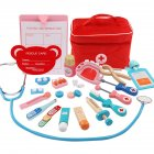 Children Wooden Simulation Bag Medicine Box Pretend Game Simulation Doctor Injection Toy  All-round medicine box