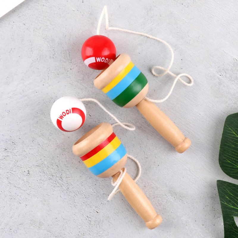 Children Wooden Skill Cup Hand-eye Coordination Training Toy Traditional Game Skill Ball Baby Toy Red ball