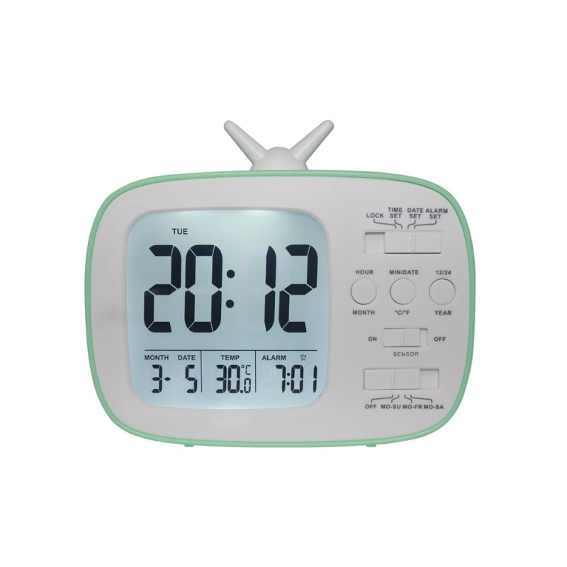 Children and Student LCD Electronic Bedside Light-sensitive Smart Alarm Clock G180 blue