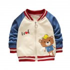 Children's Coat Long-sleeve Baseball Uniform for 0-4 Years Old Kids bear _90cm