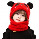 Children's  Hat Coral Fleece Cute Ear Cap With Scarf For  5-9 Years  Old Kids red