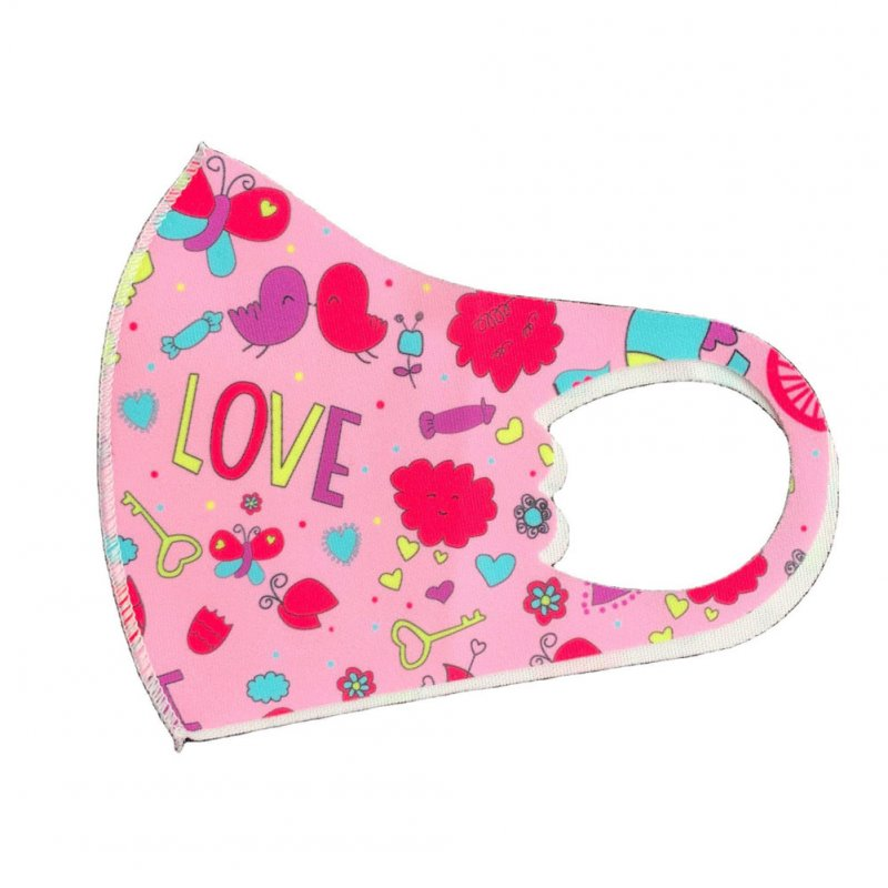 Children's Mask Dust Proof Breathable Washable Cartoon Print Hanging Ear Type Mask love_Packaging-already replaced