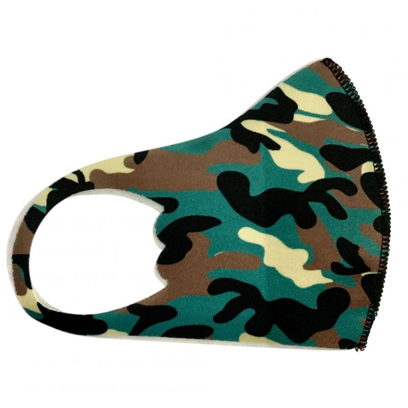 Children's Mask Dust Proof and Washable Hanging Ear Type Camouflage Masks Camouflage Green_Fine packaging