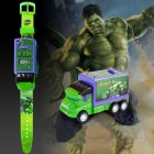 Children's Projection Toy Kids Electronic Watch Glowing Pull Back Car Boys Girls Birthday Gift Movie Hero Figure Design Hulk