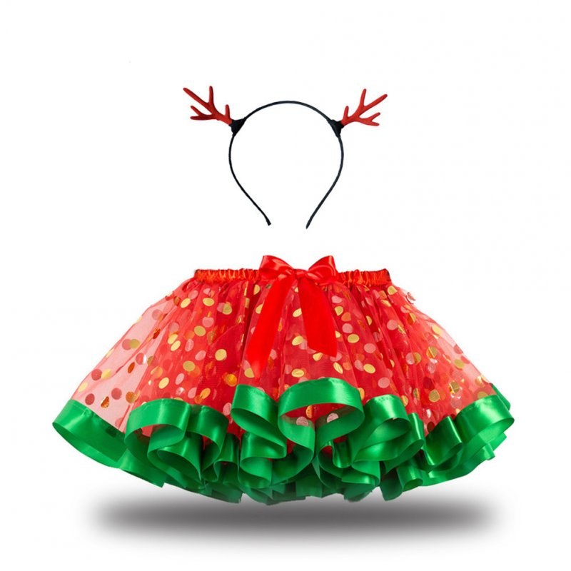 Children's Skirt Christmas Mesh Skirt + Headdress for 2-8 Years Old Kids RT106_S