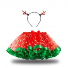 Children's Skirt Christmas Mesh Skirt + Headdress for 2-8 Years Old Kids RT106_L