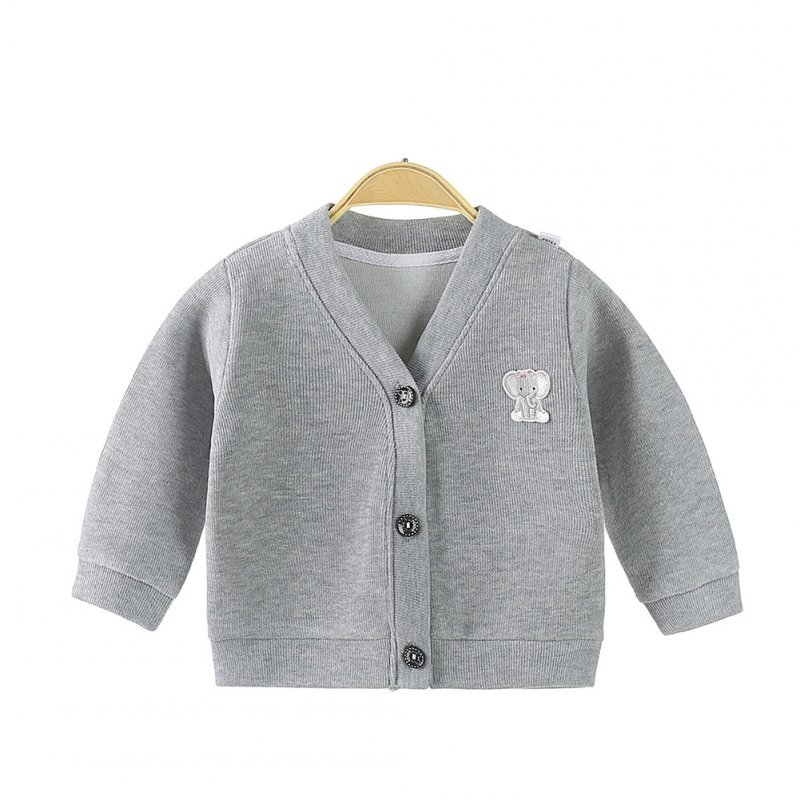 Children's Sweater Cardigan Cartoon Pattern Jacket for  0-3 Years Old Kids gray_90cm