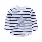 Children's T-shirt  Long-sleeved Cartoon Print All-match Top for 1-5 Years Old Kids E _80cm