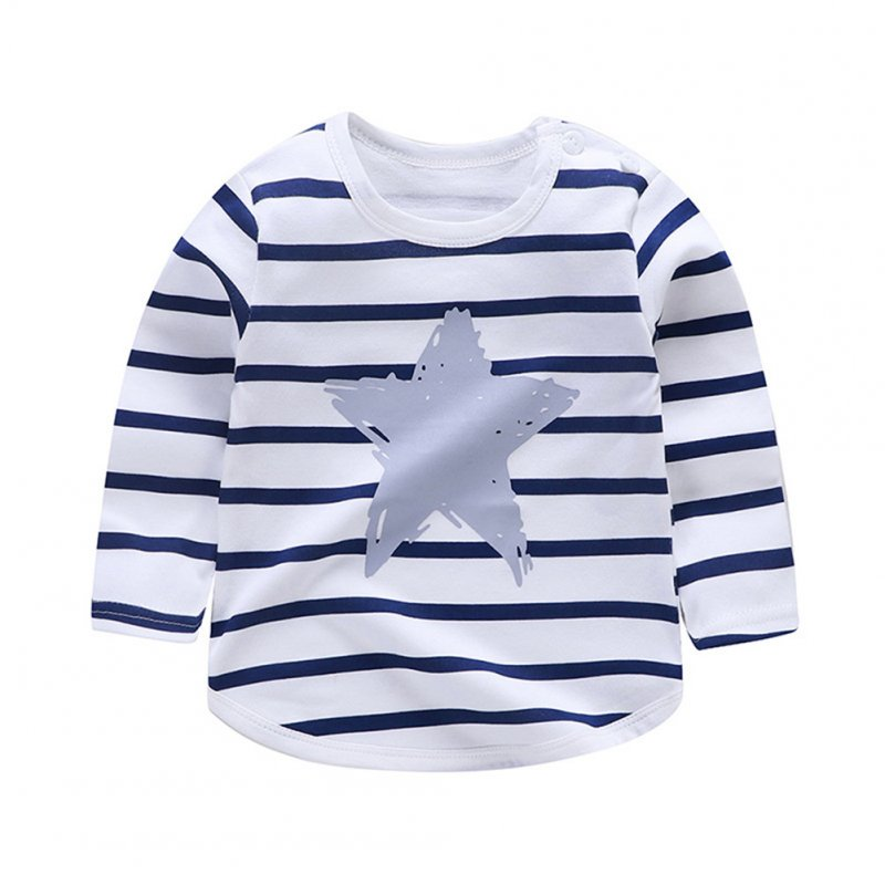 Children's T-shirt  Long-sleeved Cartoon Print All-match Top for 1-5 Years Old Kids E _110cm
