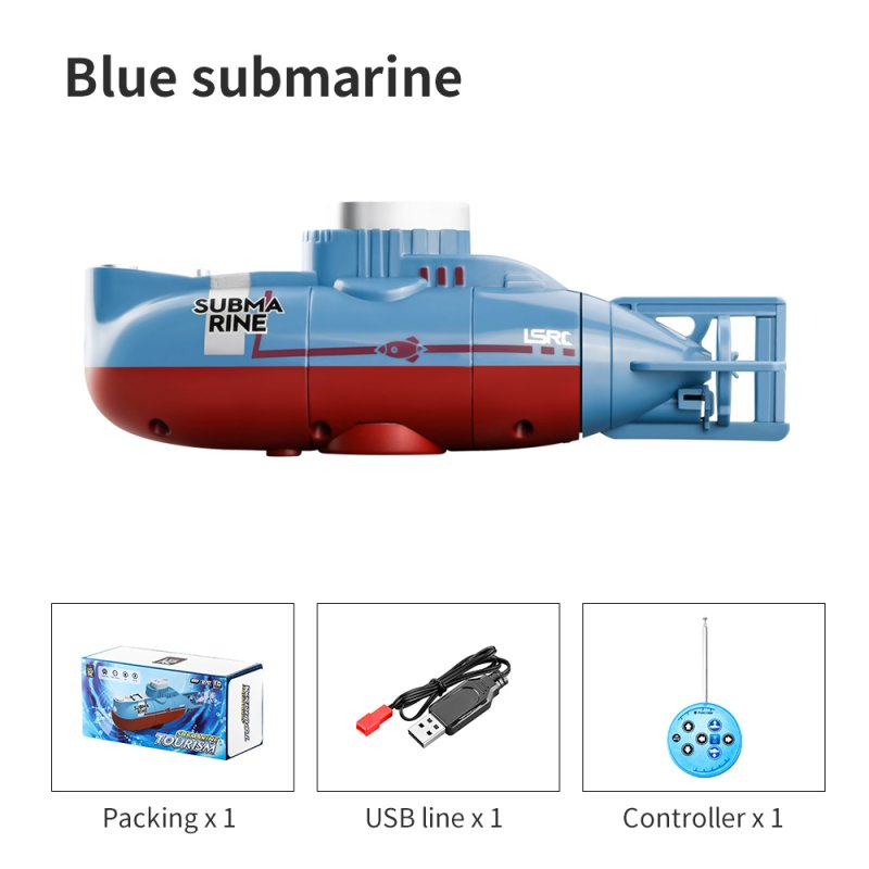 Children's Toy Remote Control Submarine Diving Fish Tank Toy Mini Rc Simulation Submarine blue