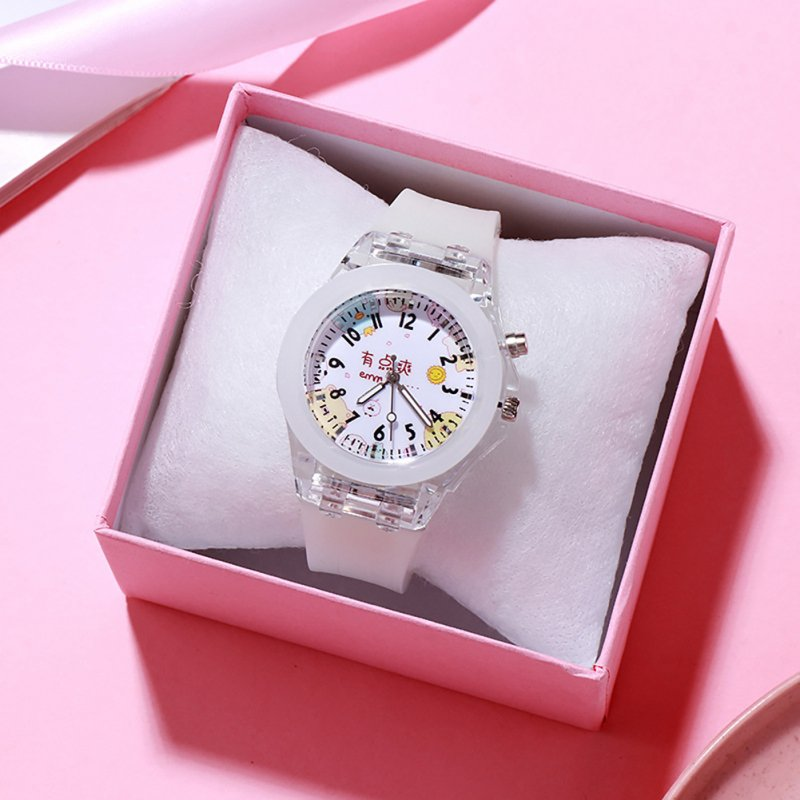 Children's Watch Cartoon Cute Translucent Luminous Silicone LED Watch white