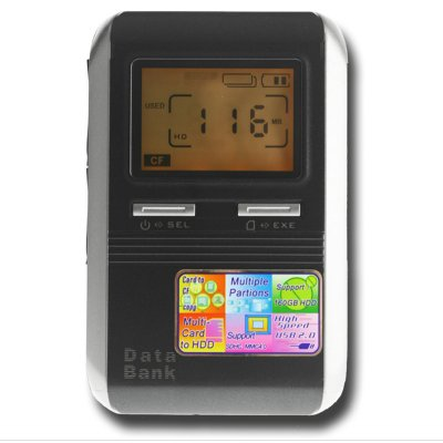 SATA HDD Data Bank - Multi Card Reader + LCD Screen