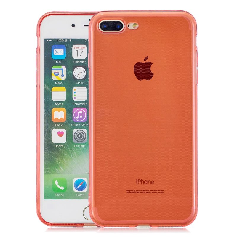for iPhone 6/6S / 6 Plus/6S Plus / 7/8 / 7 Plus/8 Plus Clear Colorful TPU Back Cover Cellphone Case Shell Red
