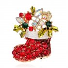 Christmas Cartoon Boots Rhinestone Brooch Badge Pin Alloy Creative Dress Accessories AL050 A