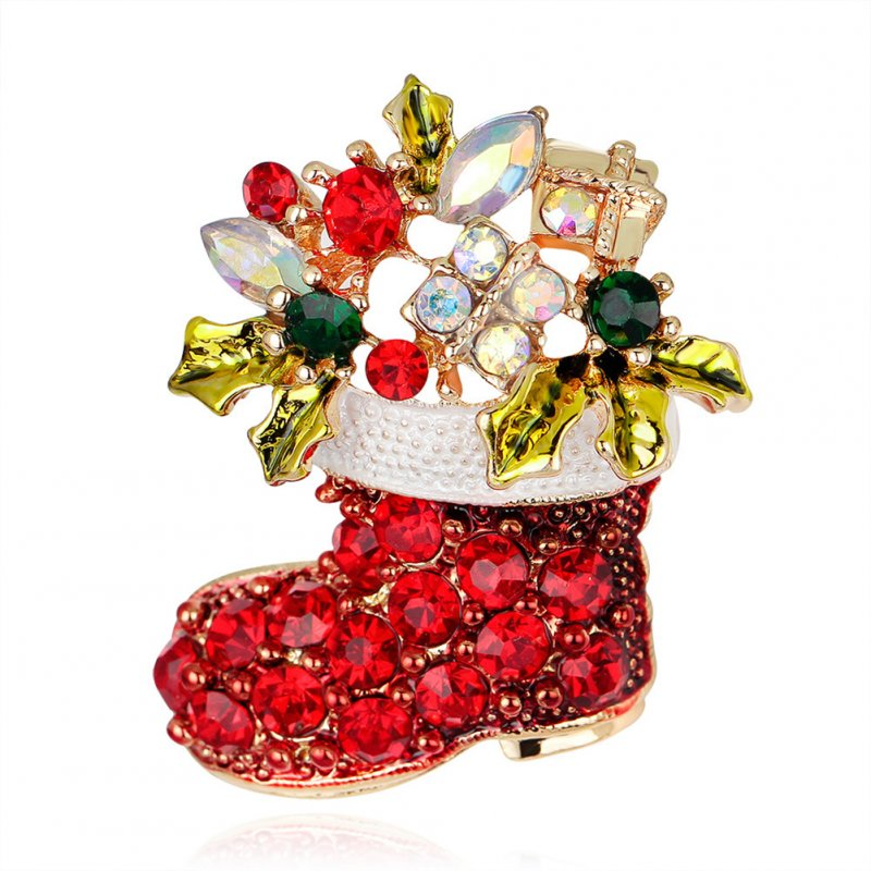 Christmas Cartoon Boots Rhinestone Brooch Badge Pin Alloy Creative Dress Accessories AL050-A