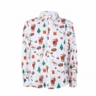 Christmas Cartoon Printing Male Lapel Shirt Men Blouse Shirt for Man white_XXL