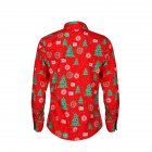 Christmas Cartoon Printing Male Lapel Shirt Men Blouse Shirt for Man red M