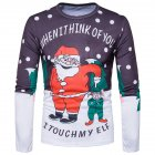 Christmas Casual Printing Long Sleeve Santa Claus and Little Man T shirt Male Clothes Photo Color XL