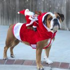 Christmas Coat Santa Claus Rides Deer Shape Costume for Pet Dog Party Cosplay L
