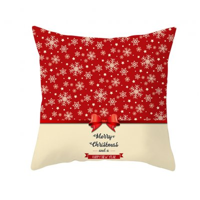 Christmas Cushion Cover 45*45 Red Merry Christmas Printed Polyester Decorative Pillows Sofa Decoration 35