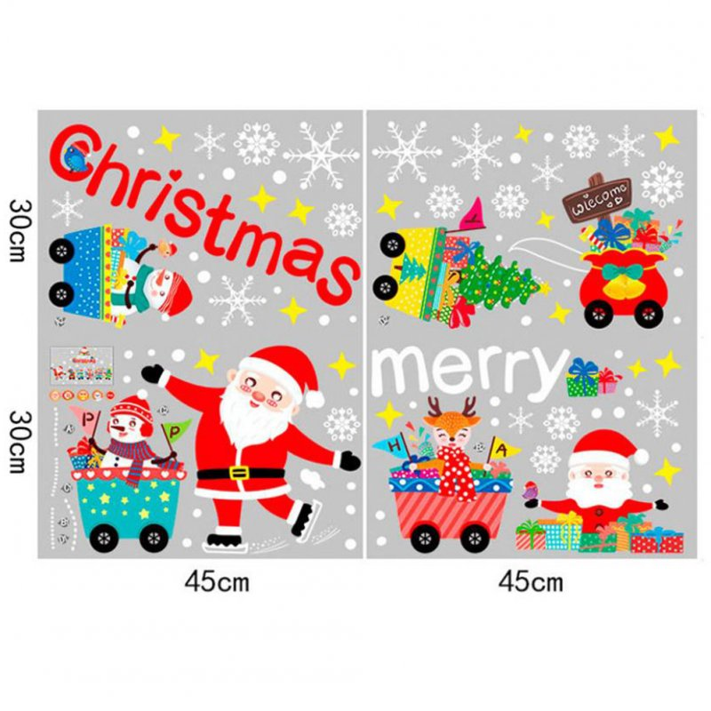 Christmas Decoration No-Adhesive Static Windows Glass Sticker Santa Claus Train Removable Christmas Wall Sticker