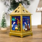 Christmas Decoration Pendant Painted Religious Christmas Small Lights Hollow Out Starry Ornament F golden religion