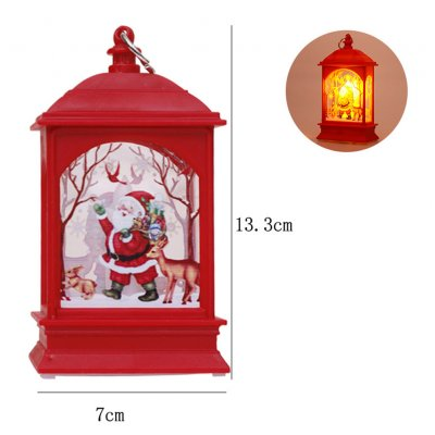 Christmas Decoration Small Wind Lamp Candlestick Lamp Old Man Snowman Elk Decoration Night Light Red Santa Claus